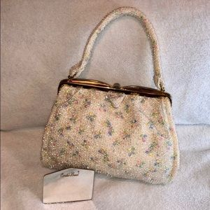 Vintage 1940s Cordé-Bead By Lumured Bag W/ Mirror
